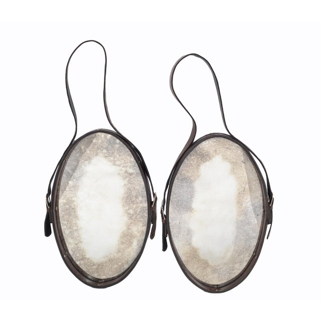Jacques Adnet Style 1950s Hand-Crafted Brown Leather & Antique Glass Wall Mirror - a Pair For Sale - Image 13 of 13