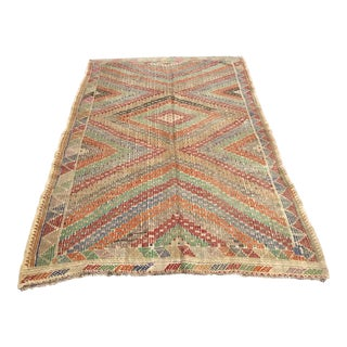 Pale Vintage Turkish Kilim Rug For Sale