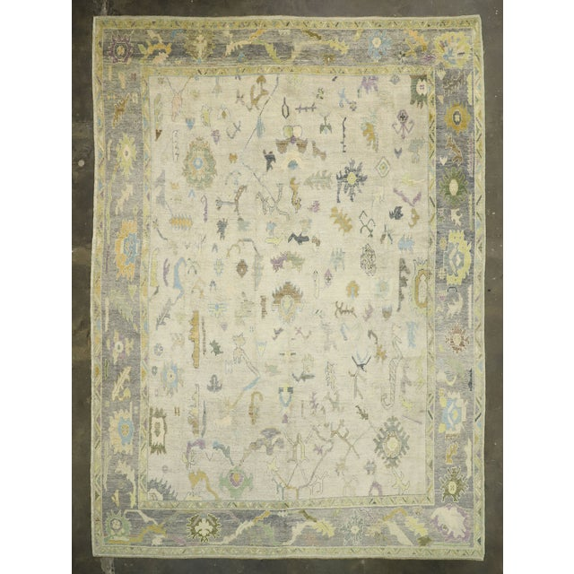 Textile Contemporary Turkish Oushak Rug With Pastel Colors - 12'05 X 17'01 For Sale - Image 7 of 9