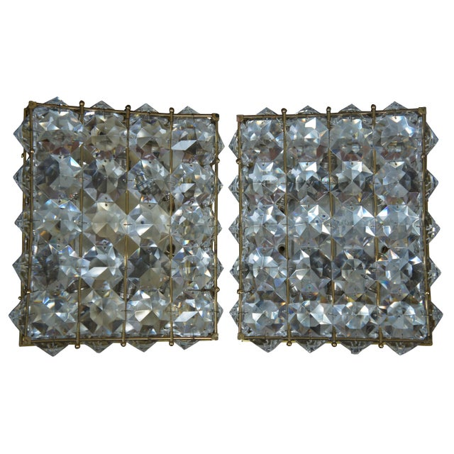 Crystal cut flush mount wall or ceiling light. Cut crystal, caged in brass with six lights and approx. 38 crystals....