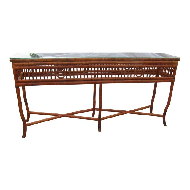 Chinoiserie Long Glass Topped Bamboo Sideboard Console Table For Sale