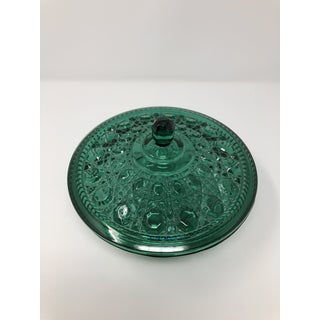 1940s Vintage Emerald Green Cut Glass Dish With Lid Preview