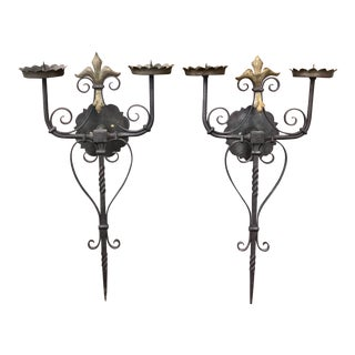 Spanish Revival/Mediterranean Style Double Armed Candle Holders - a Pair For Sale