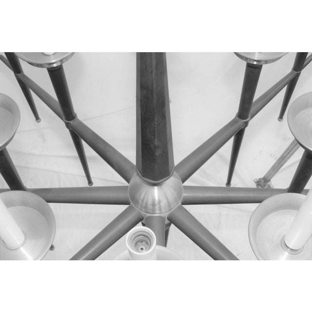 Metal Mid Century Modern Brass Chandelier Solid Brass Bronze Patina For Sale - Image 7 of 11