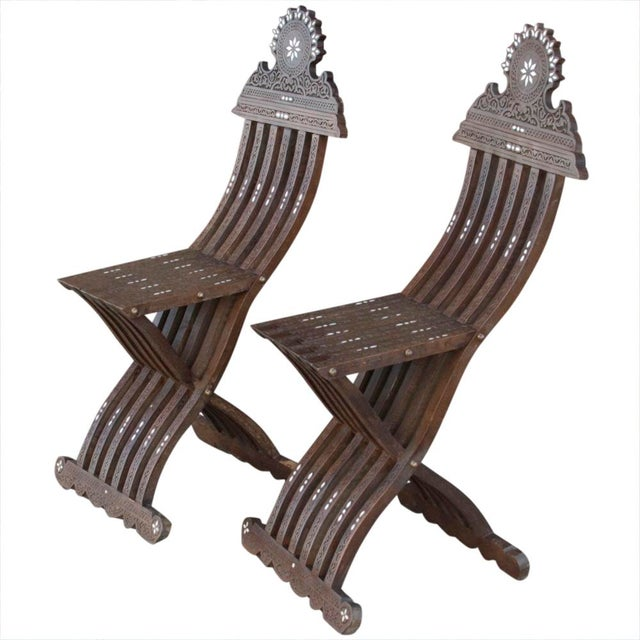 Vintage Mother Of Pearl Inlaid Chairs - Set of 2 For Sale - Image 4 of 7