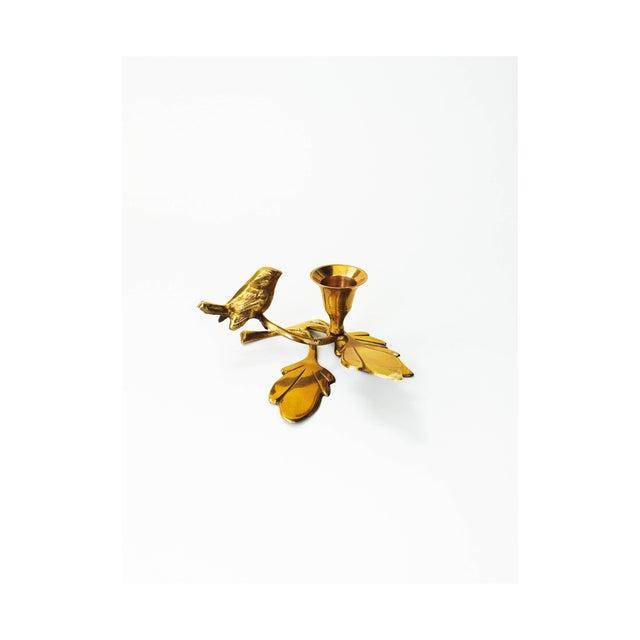 Vintage Brass Songbird Candleholder - Image 2 of 5