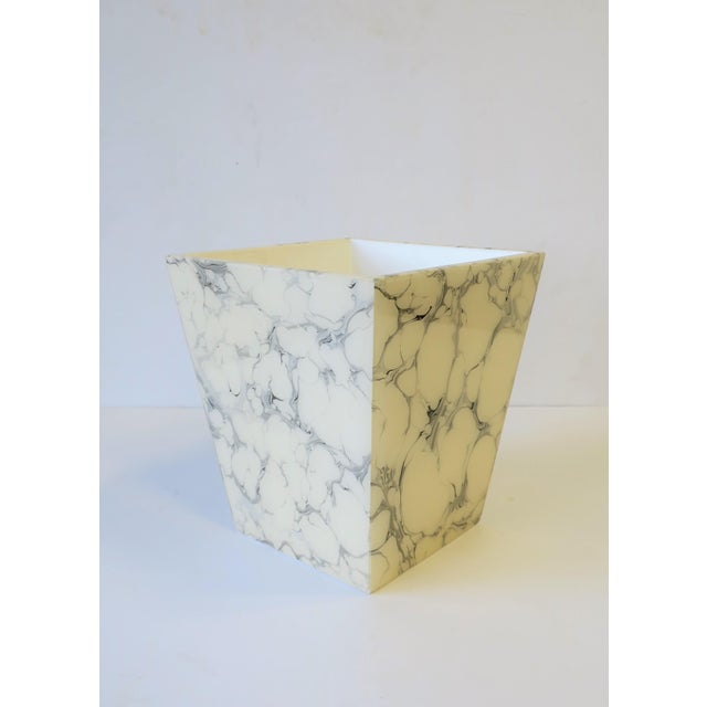 Black Black and White Marble Style Wastebasket or Trash Can Set For Sale - Image 8 of 13
