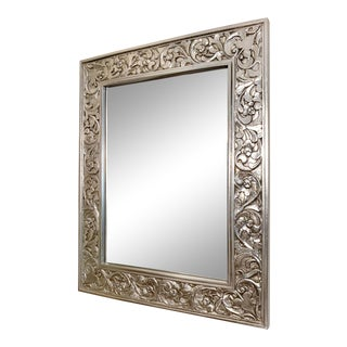 Large Finely Carved Silver Gilt Beveled Wall Mirror For Sale