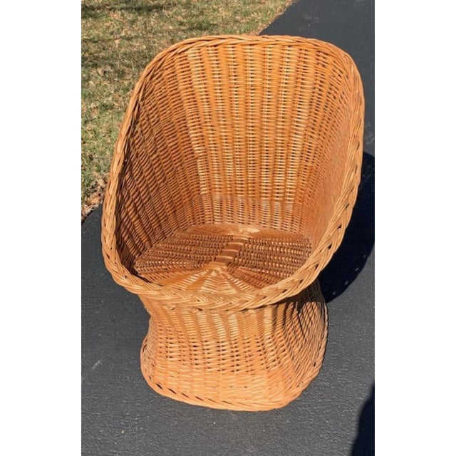 Boho Chic Vintage Mid Century Wicker Bucket Chair For Sale - Image 3 of 5
