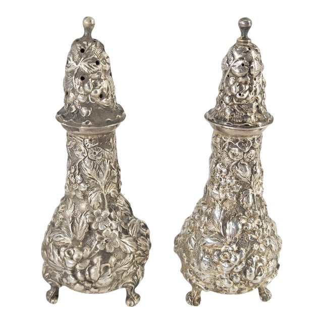 Early 20th Century Floral Sterling Silver Stieff Salt and Pepper Shakers For Sale