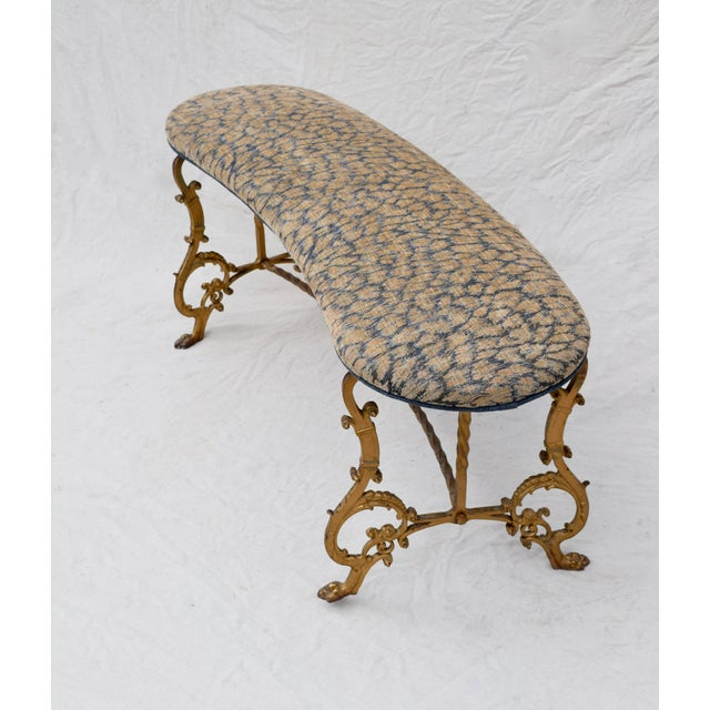 Gilt Iron Bench in Indigo Blue Leopard For Sale - Image 12 of 13