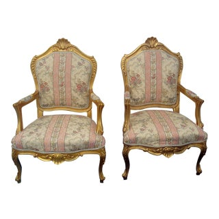 1970s Vintage French / French Provincial Arm Chairs- a Pair For Sale