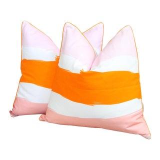 Blush Label Orange & Pink Striped Pillows - A Pair