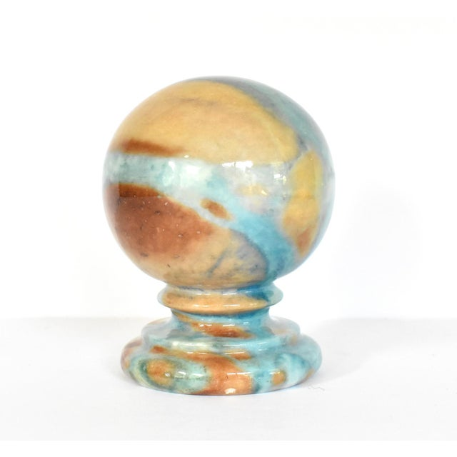Modern Vintage Italian Duccheschi Blue and Tan Alabaster Round Paper Weight For Sale - Image 3 of 12