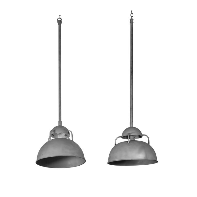 Vintage Industrial Pendant Lamps - a Pair For Sale In Los Angeles - Image 6 of 6