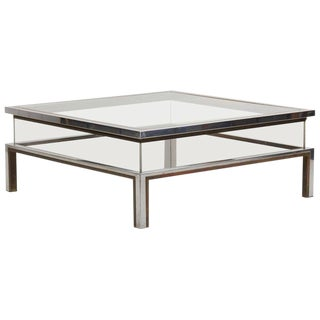 Maison Jansen Sliding Top Coffee Table in Brass and Chrome For Sale