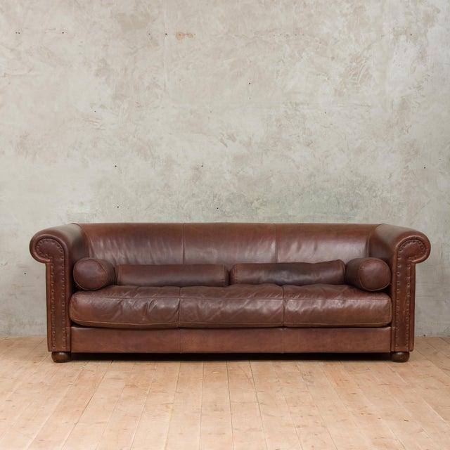 Mid-Century Baxter Buffalo Leather Italian Sofa For Sale - Image 12 of 12