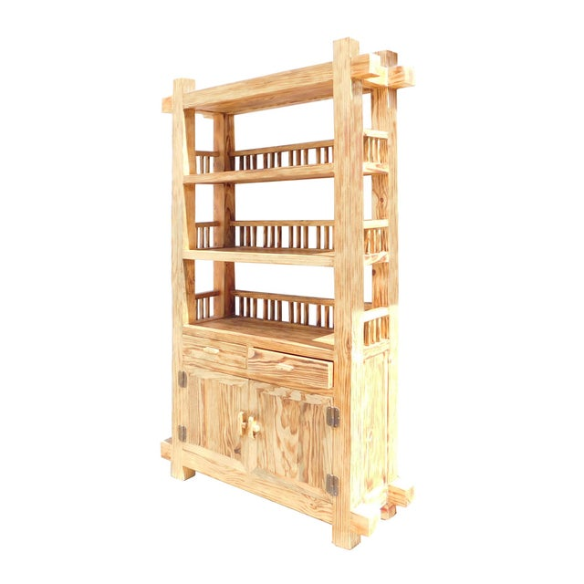 Rustic Raw Wood Open Shelf Bookcase - Image 2 of 6