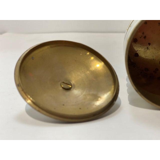 Metal Vintage Trinket Box Mother-Of-Pearl For Sale - Image 7 of 9