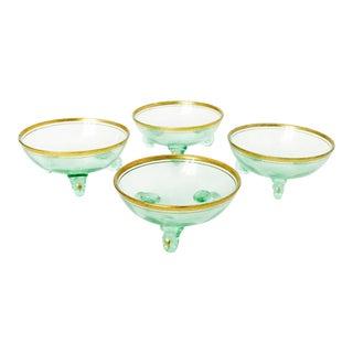 Vintage Vaseline Green Glass Sauce Dishes - Set of 4 For Sale