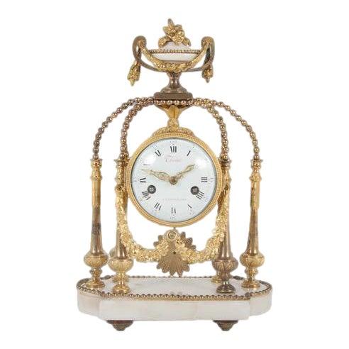 18th Century Gilt Bronze French Portico Clock For Sale
