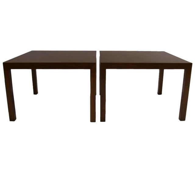 1960s Pair ofScale Edward Wormley for Dunbar Parsons Tables in Dark Mahogany For Sale - Image 5 of 5