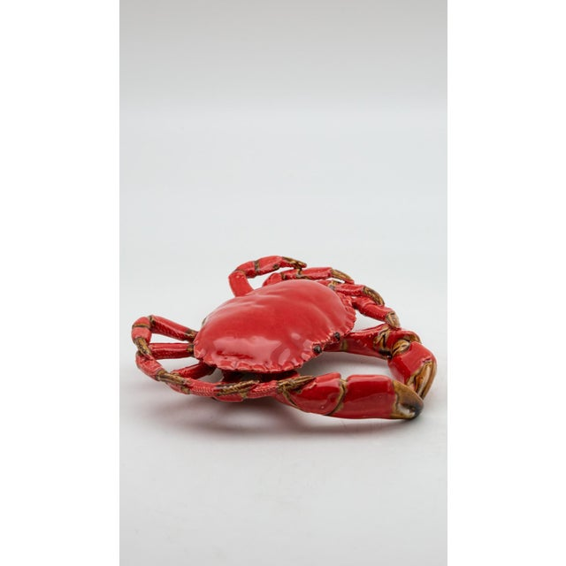 Portuguese Handmade Pallissy or Majollica Red Ceramic Crab. Ceramic sea life art has long been a tradition in Portugal. It...