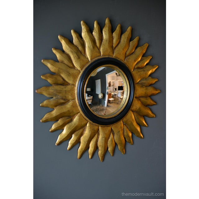 Chaty Vallauris 1970s Vintage Giltwood Convex Sunburst Mirror For Sale - Image 4 of 7