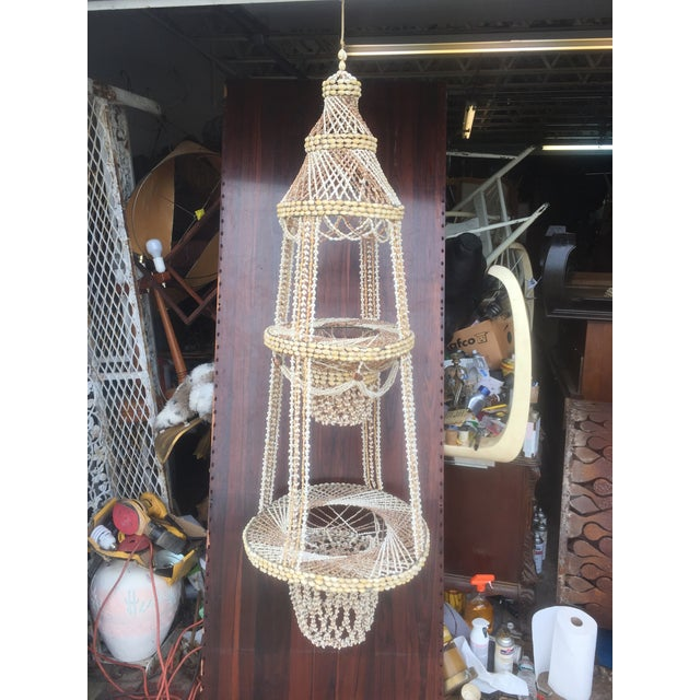 Boho Chic Vintage Hanging Shell Planter For Sale - Image 3 of 6