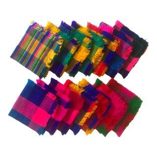 Vintage Multicolor Square Table Napkins - Set of 14 For Sale