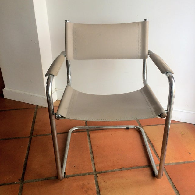 Vintage Mart Stam Breuer Style Tubular Chrome & Gray Leather Chair - Image 9 of 11