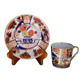 Worcester Early 19th Century Gilt Imari Saucer Spode Demitasse Cup - A Pair For Sale