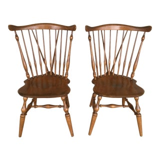 Ethan Allen Windsor Brace Back Nutmeg Dining Side Chairs - a Pair For Sale