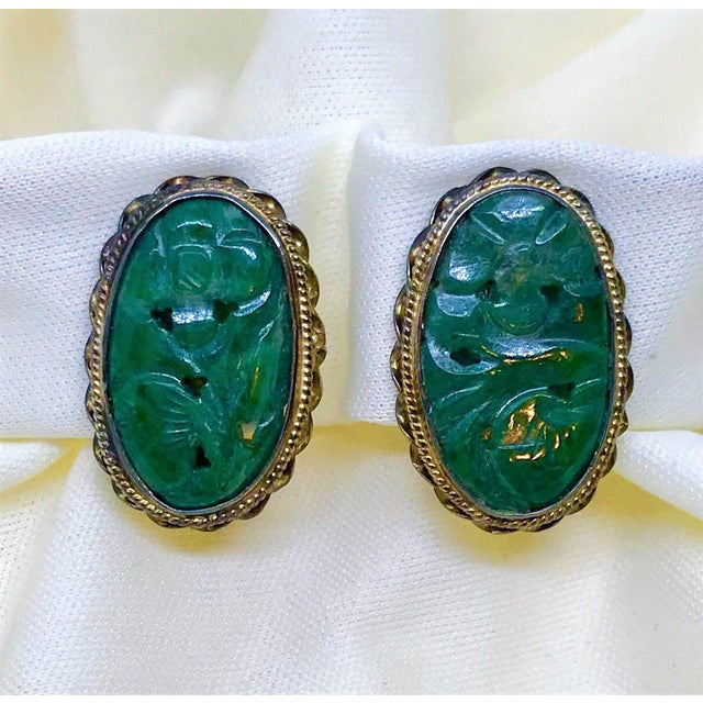 Metal 1940s Carved Jade, Sterling and 14k Clip-Back Earrings For Sale - Image 7 of 8