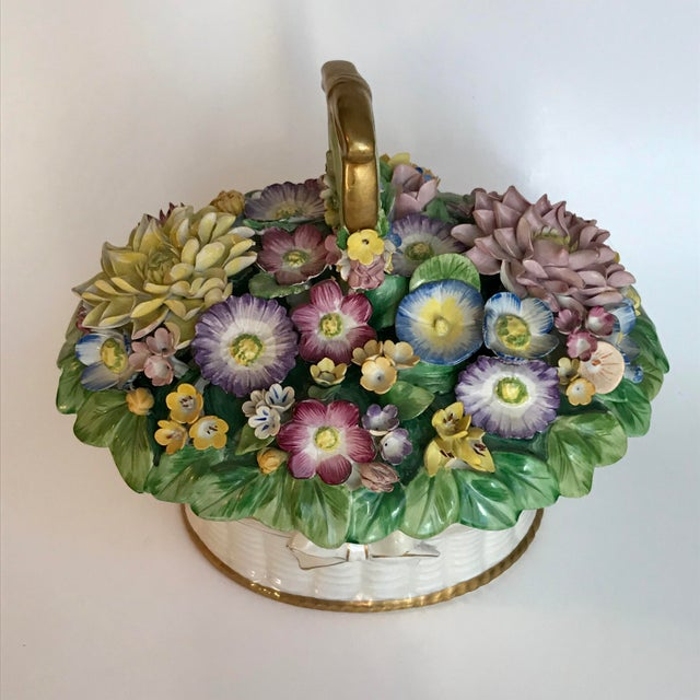 Italian ceramic lidded dish with Capodimonte style spring floral bouquet atop a bed of hand painted leaves. Slightly...