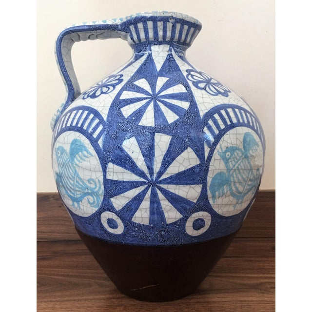 19th Century Glazed Pitcher in Blues and White - Image 3 of 7