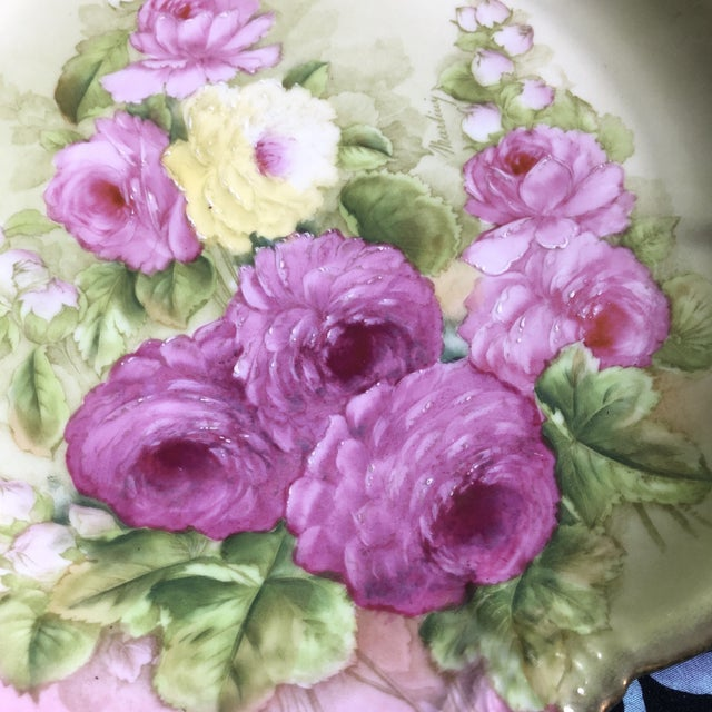 Ceramic Vintage Hand Painted and Signed Vintage Bavarian Charger Plate For Sale - Image 7 of 13
