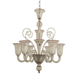 1940s Style Italian Venetian Murano Clear Glass and Red Trimmed Chandelier For Sale