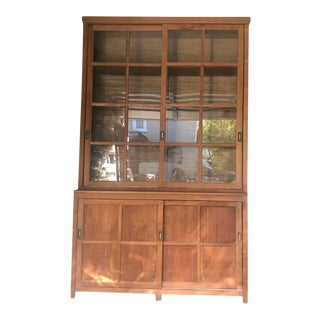 Traditional 1950s Display/Storage Cabinet With Grasscloth Detail For Sale