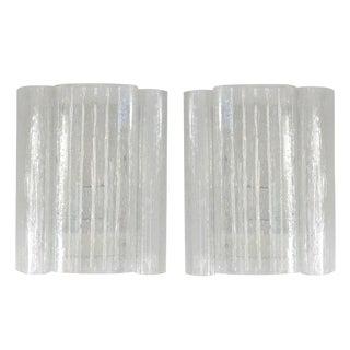 Pair of Mid-Century Modern Doria Leuchten Wall Sconces in Clear Eisglas