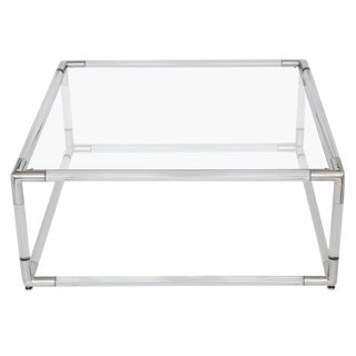 Lucite and Aluminium Square Coffee Table with Glass Top