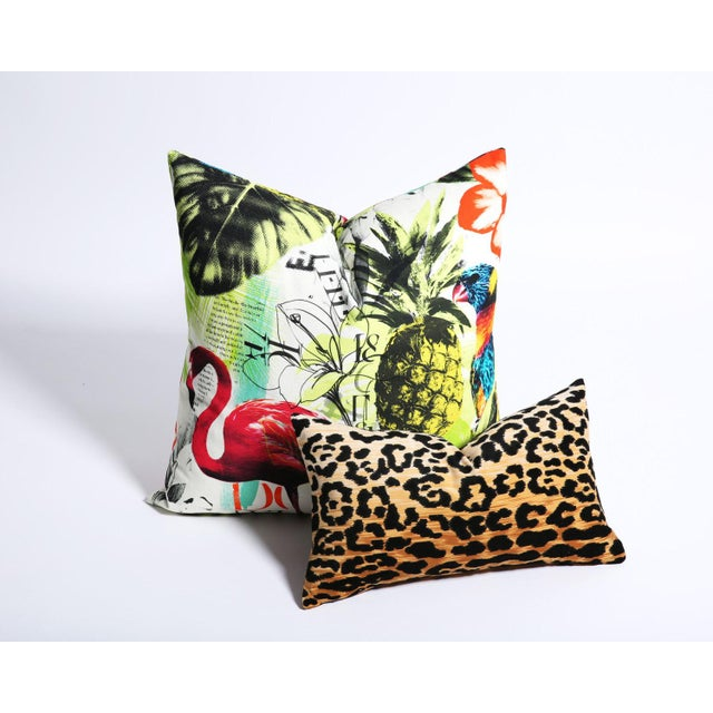 Pineapple Flamingo Art Tropical Decorative Euro Sham Pillow - Image 4 of 6