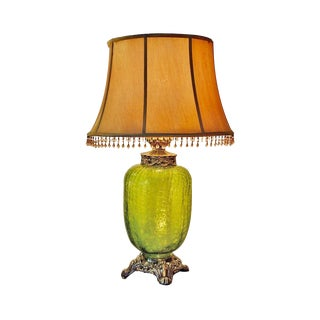 1930's Vintage Green Crackle Glass Globe Table Lamp For Sale