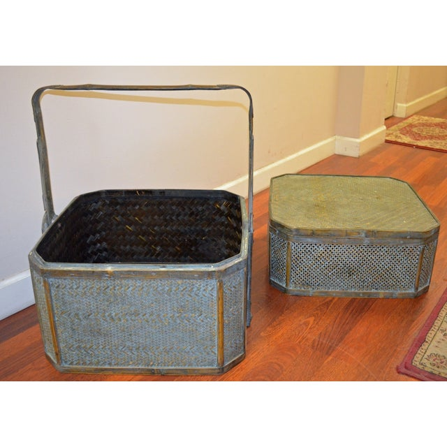 Green Woven Rattan Basket Side Table For Sale In New York - Image 6 of 6