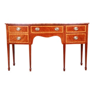 Kindel Furniture Georgian Bow Front Banded Mahogany Sideboard Credenza For Sale