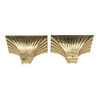 Vintage 1970s Bronze and Brass Torchere Sconces - a Pair For Sale