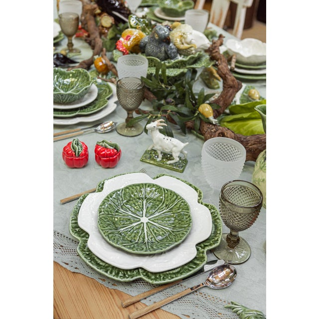Ceramic Bordallo Pinheiro Cabbage Complete Dinnerware Set, Green - Service for One For Sale - Image 7 of 9