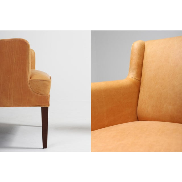 Animal Skin Scandinavian Modern Bergere Chairs in Camel Leather For Sale - Image 7 of 11