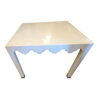 White Small Seagrass & Metal Side Table For Sale