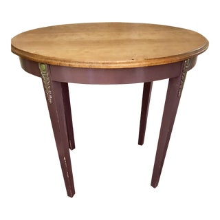 1960s Boho Chic Wooden Oval Accent Table For Sale